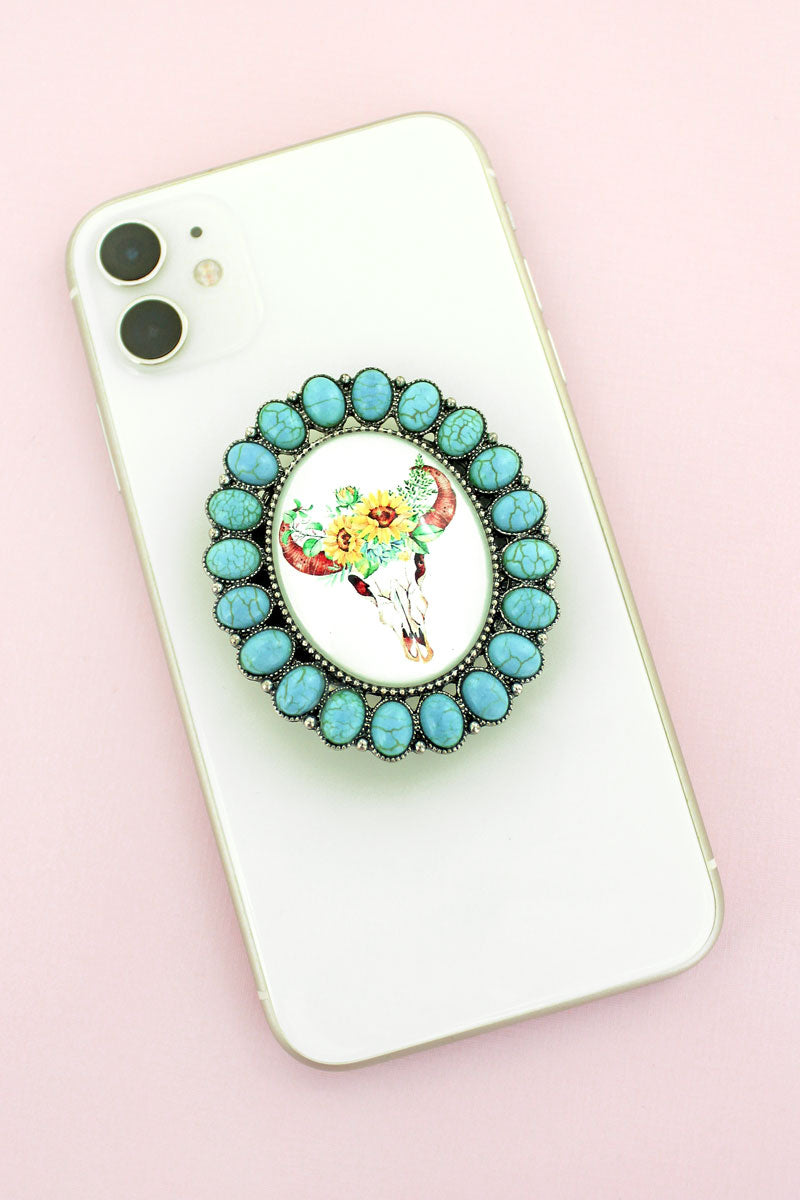 Turquoise Stone Framed Steer Skull Bubble Phone Grip & Stand