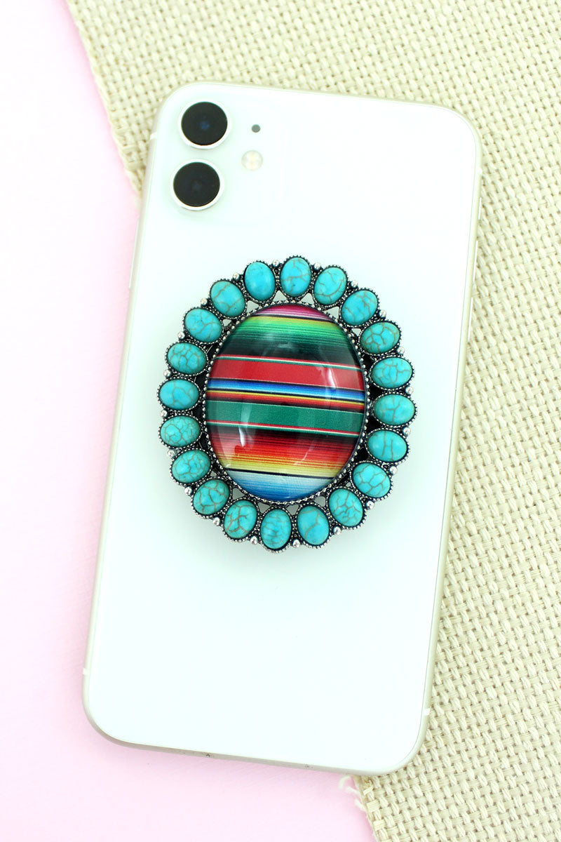 Turquoise Stone Framed Serape Bubble Phone Grip & Stand
