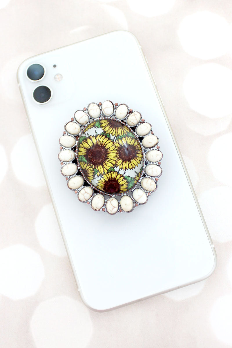 White Stone Framed Sunflower Bubble Phone Grip & Stand