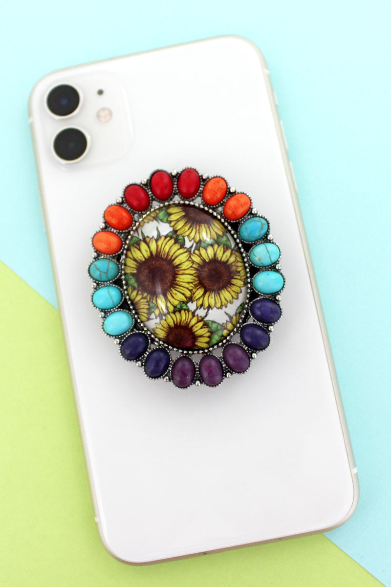 Multi-Color Stone Framed Sunflower Bubble Phone Grip & Stand