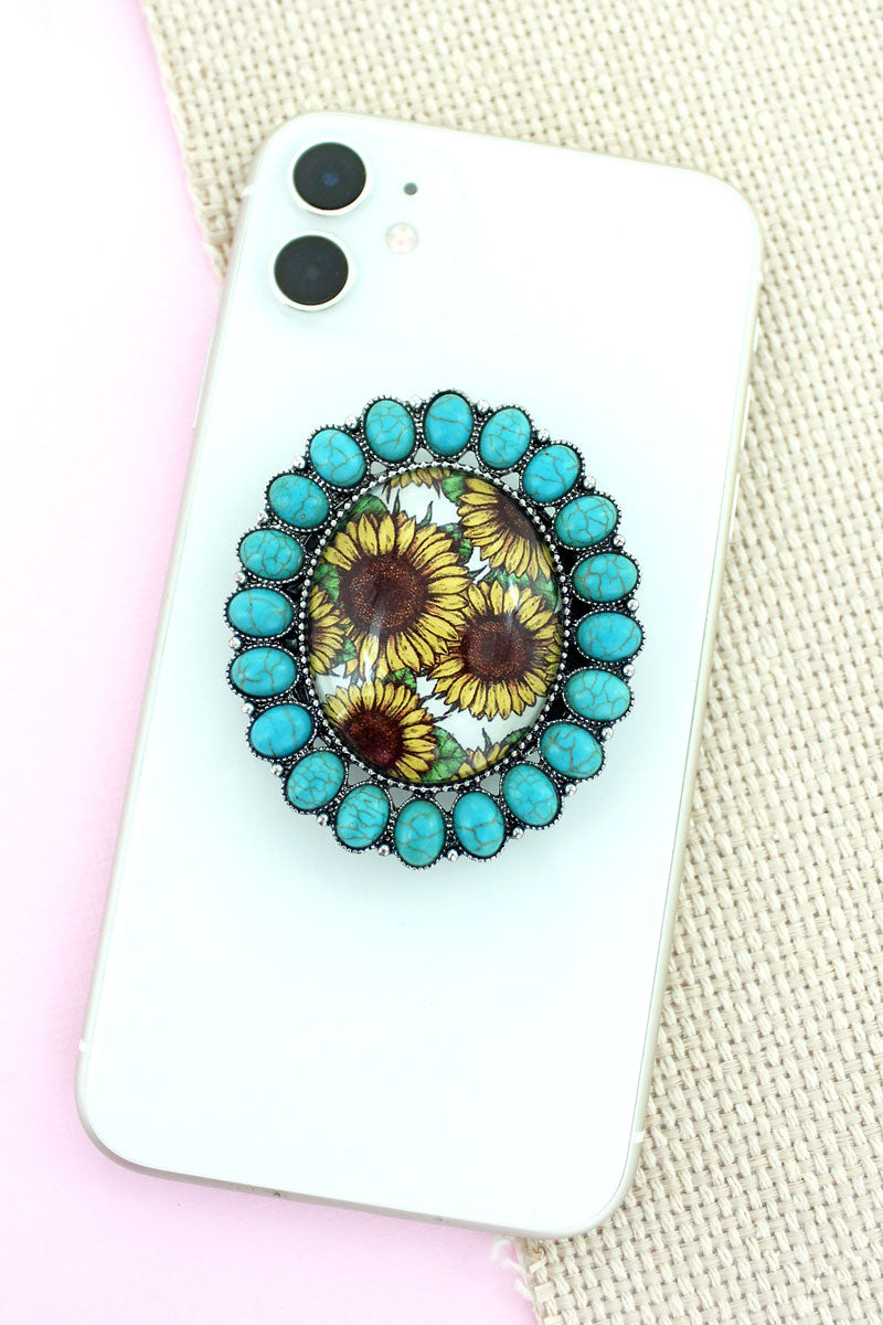 Turquoise Stone Framed Sunflower Bubble Phone Grip & Stand