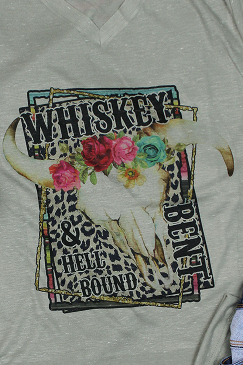 Whiskey Bent Unisex V-Neck Tee