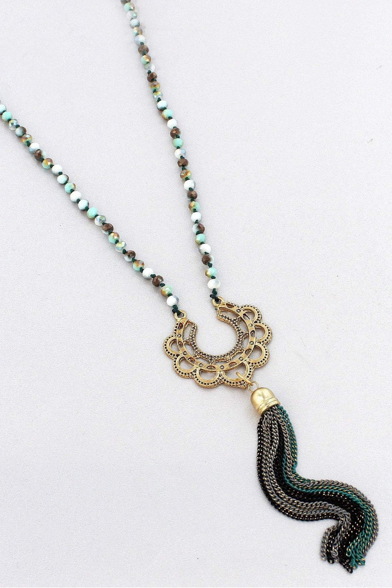 Green and Goldtone Scalloped Crescent Chain Tassel Pendant Beaded Necklace