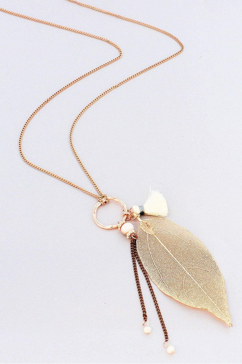 Ivory and Rose Goldtone Leaf Cluster Pendant Necklace