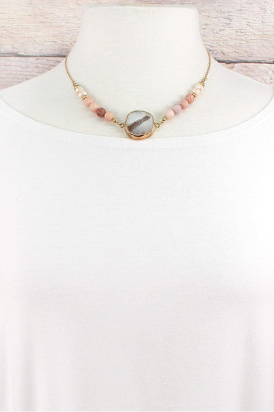 Worn Goldtone and Carnelian Beaded Geode Necklace