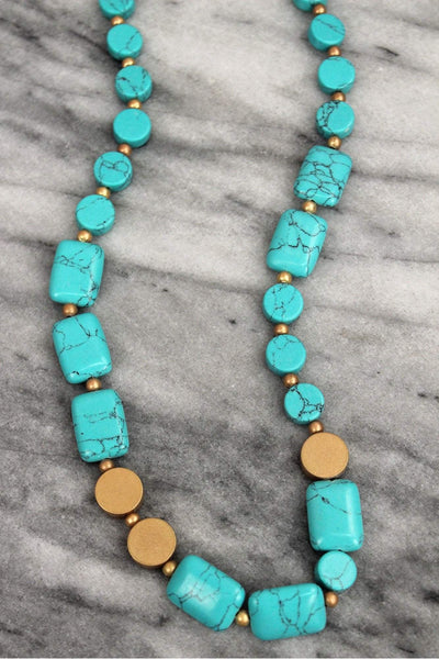 Turquoise and Worn Goldtone Flat Bead Necklace