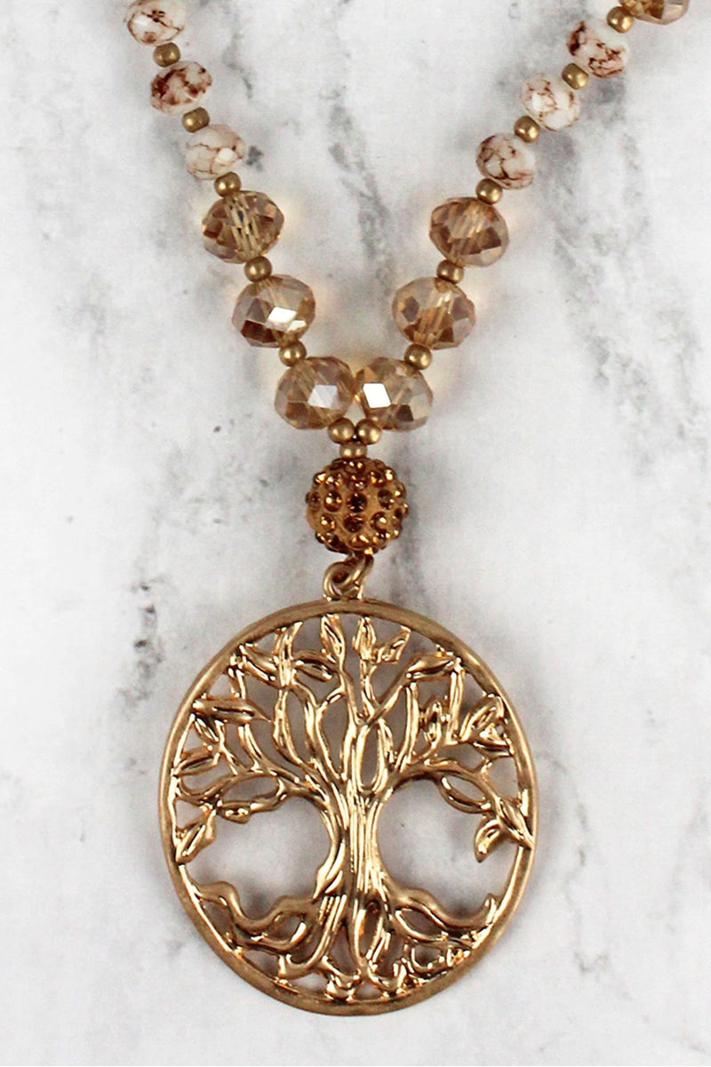 Natural Beaded Worn Goldtone Tree of Life Pendant Necklace