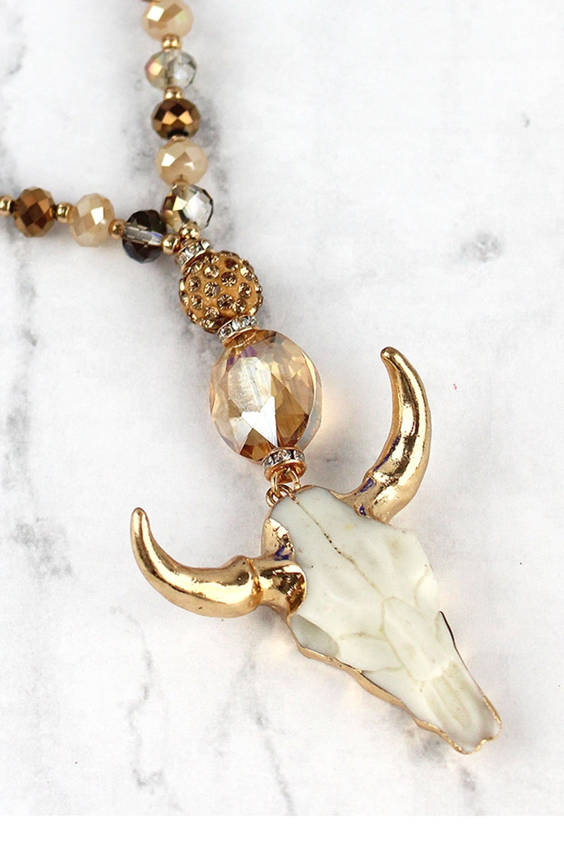 Goldtone Trimmed Steer Skull Natural Beaded Necklace