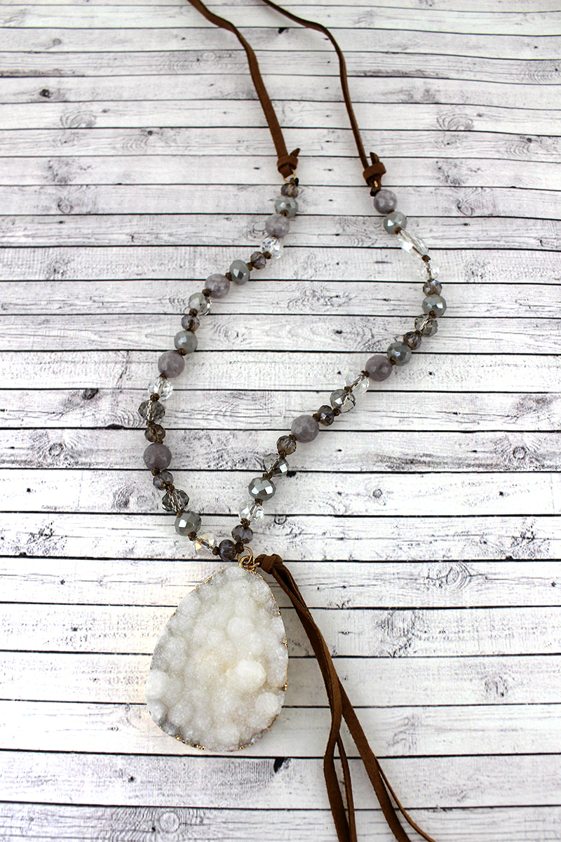 Gray Druzy Teardrop and Tassel Pendant Beaded Cord Necklace