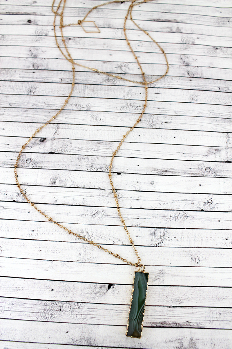 Green Agate Bar and Goldtone Diamond Layered Necklace