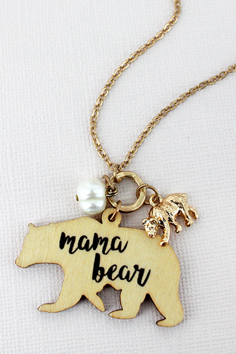 Ivory Wood 'Mama Bear' Charm Pendant Goldtone Necklace