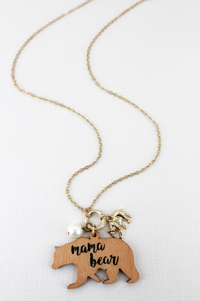 Light Brown Wood 'Mama Bear' Charm Pendant Goldtone Necklace