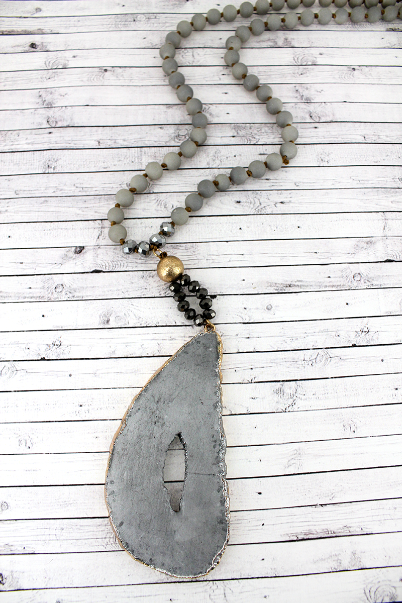 Gray Geode Slice Beaded Necklace