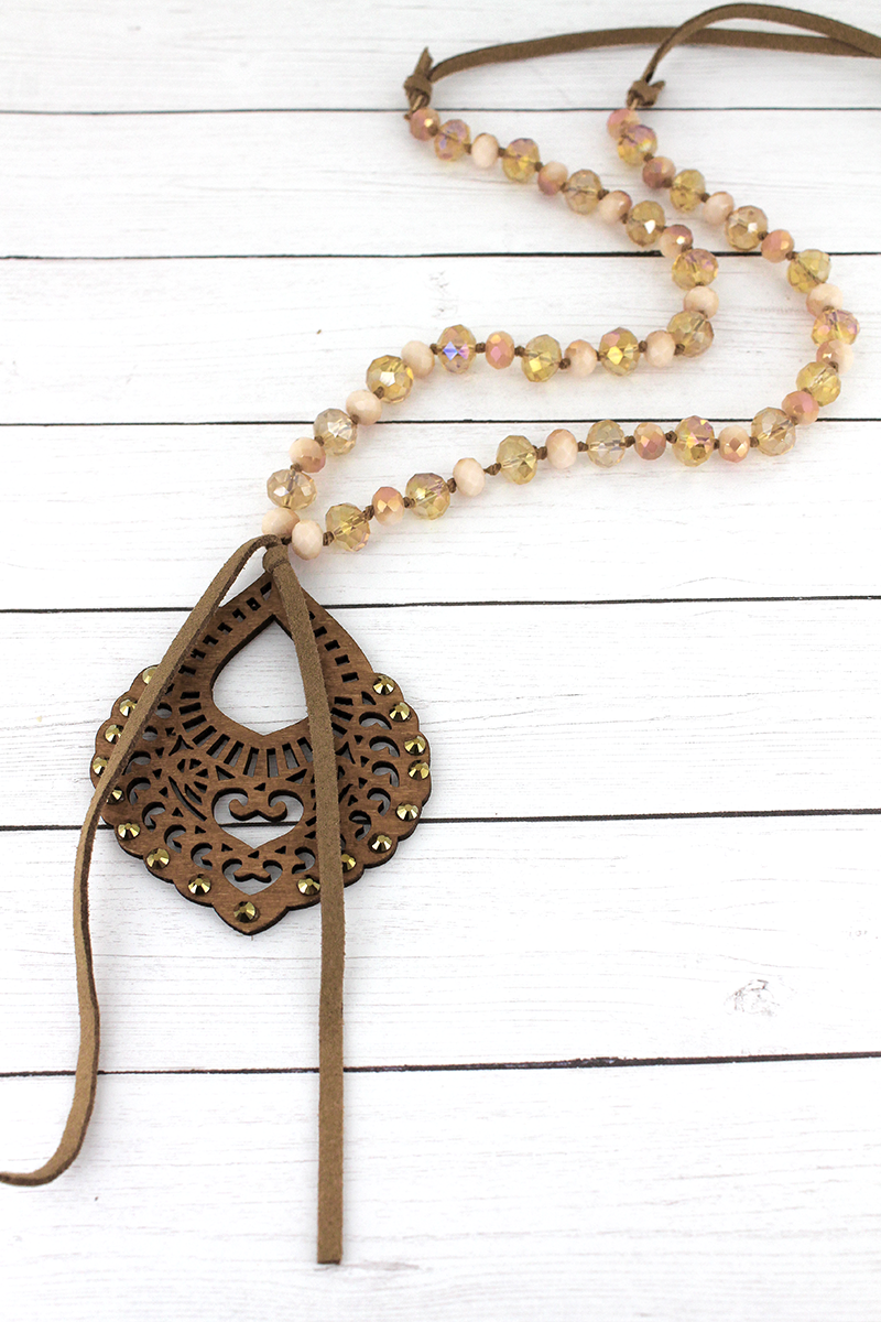 Crystal Accented Light Brown Wood Tangier Teardrop Beaded Necklace