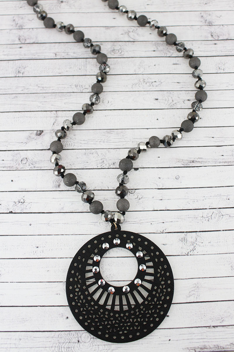 Crystal Accented Black Filigree Wood Disk Beaded Necklace