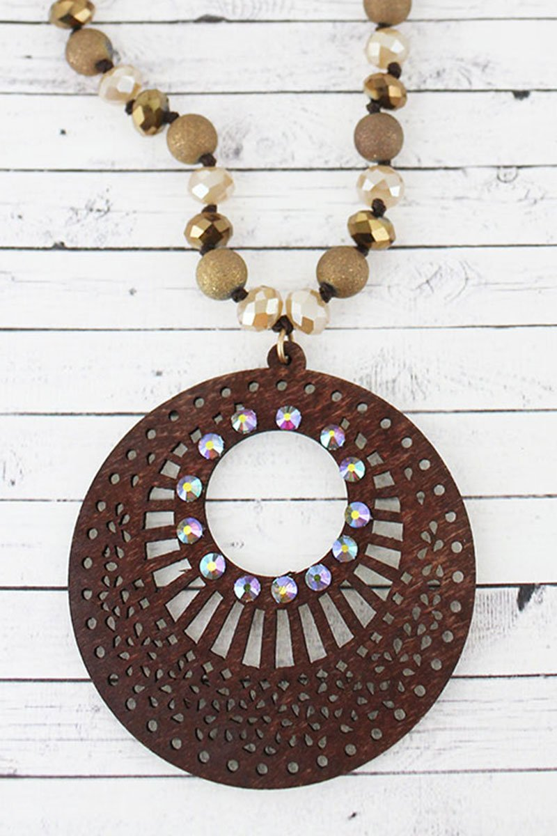 Crystal Accented Brown Filigree Wood Disk Beaded Necklace