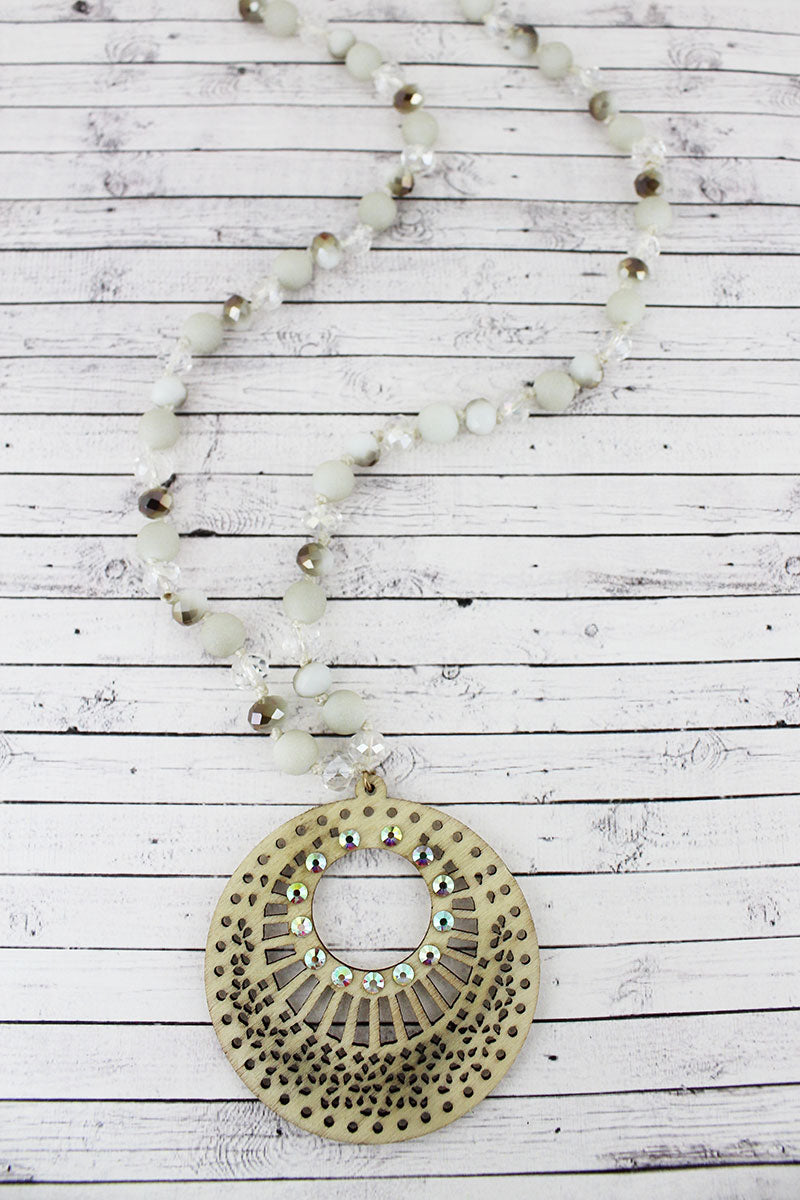 Crystal Accented Ivory Filigree Wood Disk Beaded Necklace
