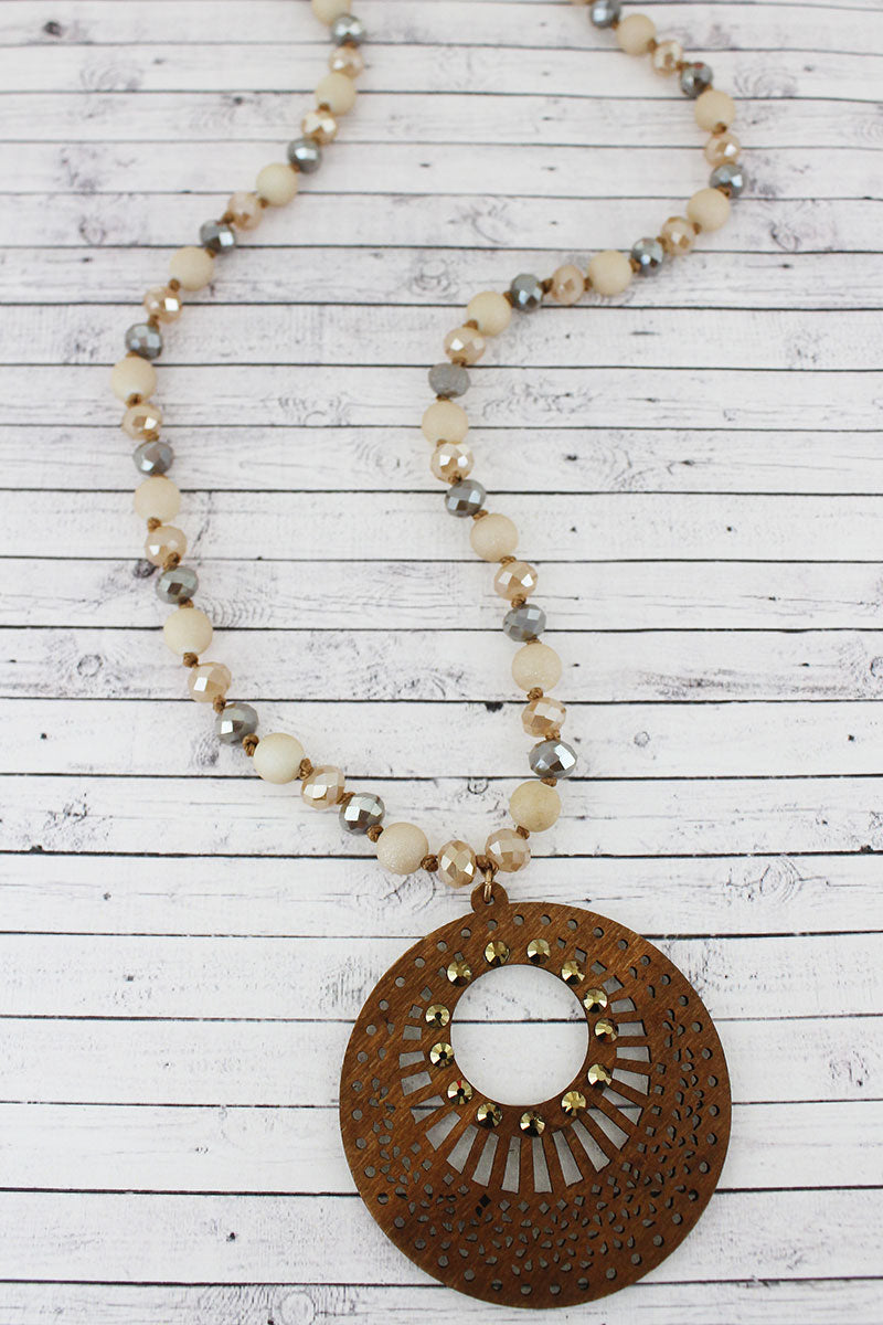 Crystal Accented Light Brown Filigree Wood Disk Beaded Necklace