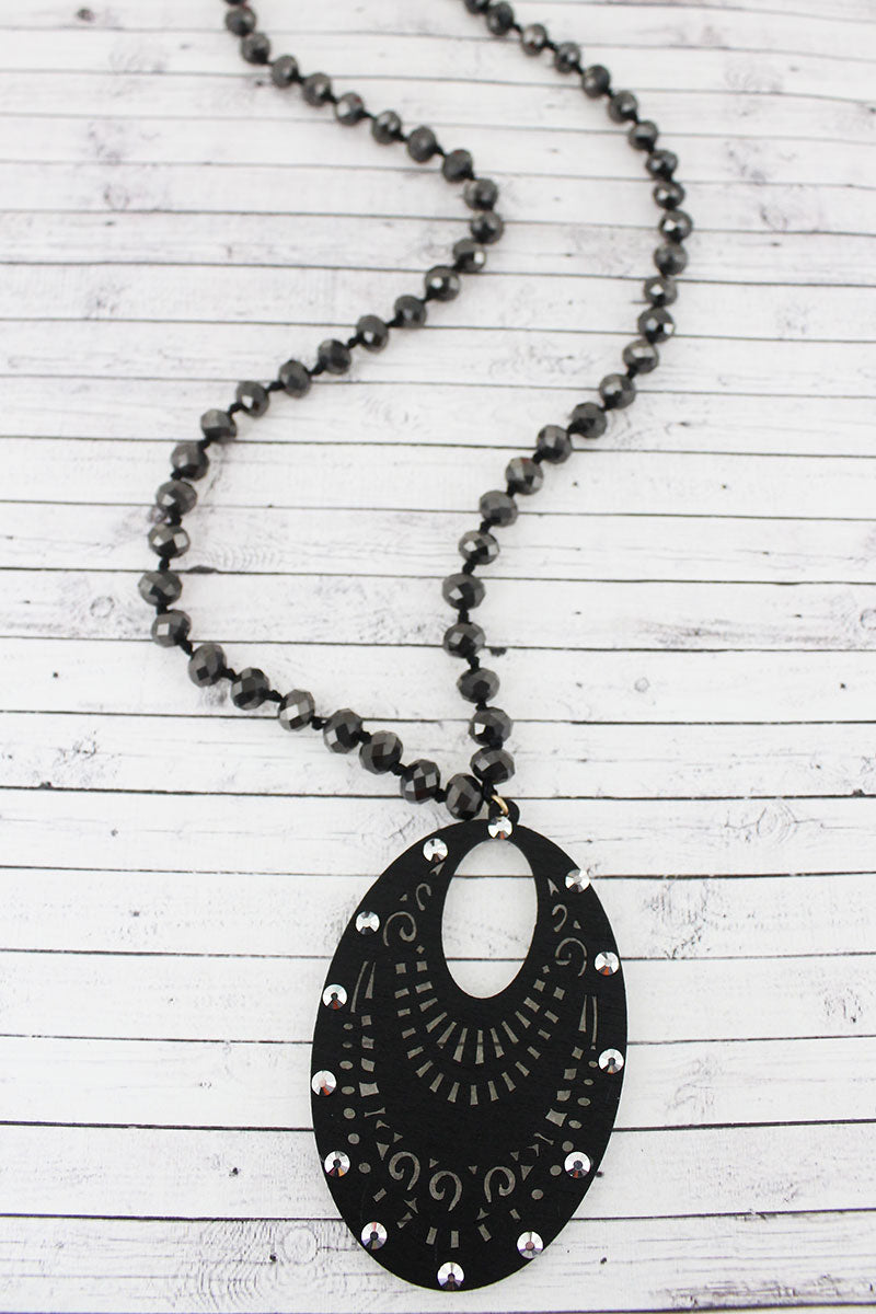 Crystal Accented Black Filigree Wood Oval Beaded Necklace