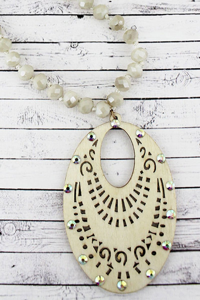 Crystal Accented Ivory Filigree Wood Oval Beaded Necklace