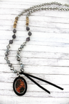 Black Wood and Crystal Trimmed Southwestern Oval Mixed Bead Necklace