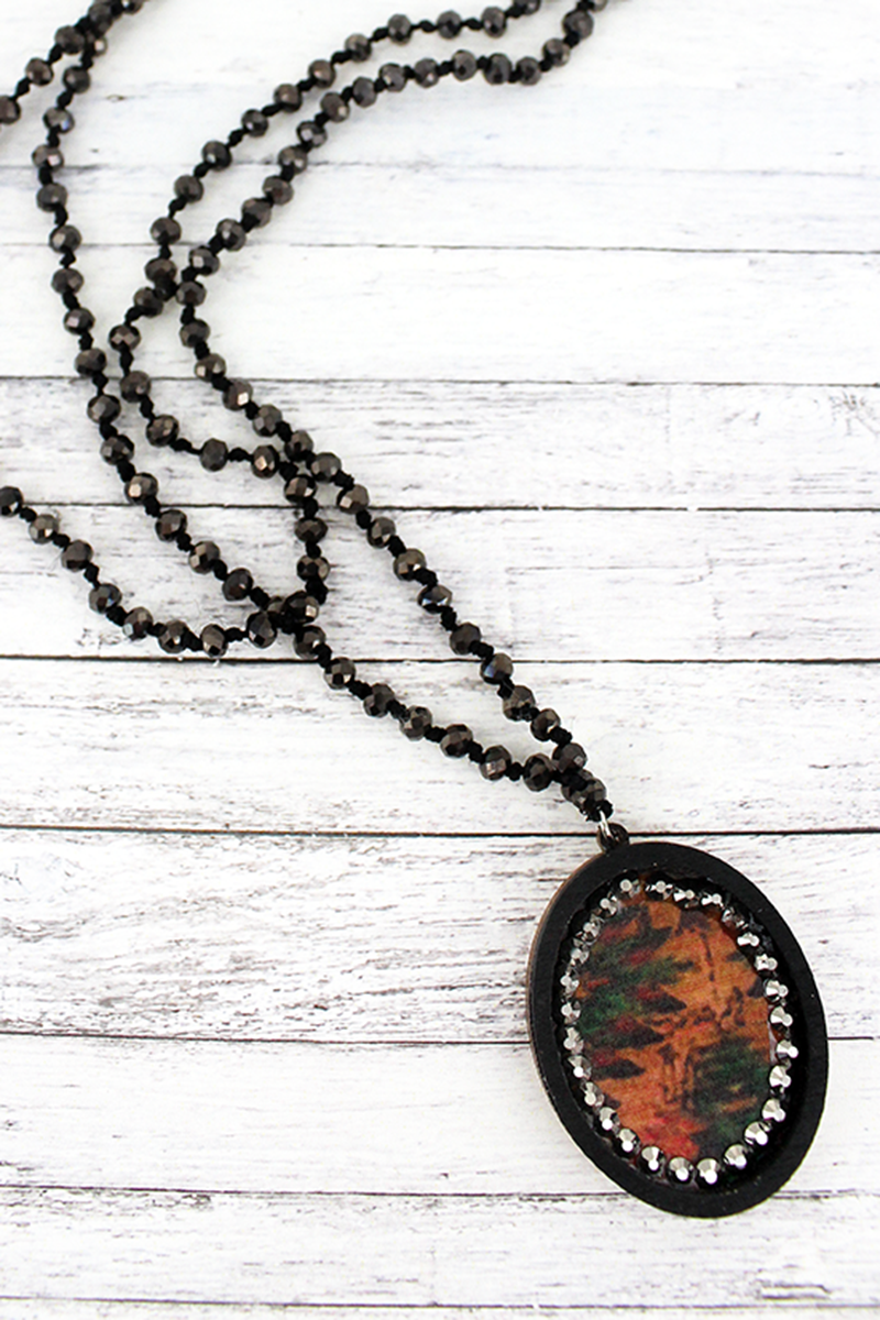 Black Wood and Crystal Trimmed Southwestern Oval Beaded Endless Necklace