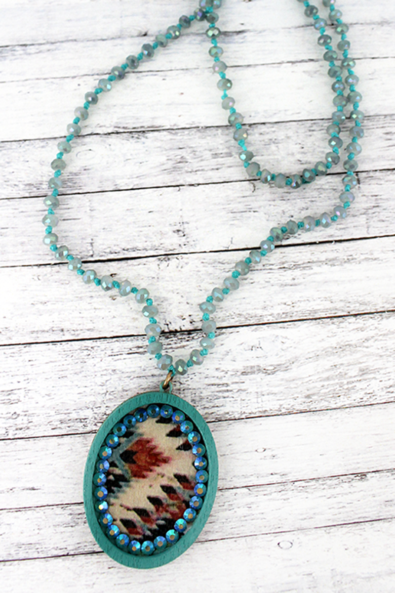 Turquoise Wood and Crystal Trimmed Southwestern Oval Beaded Endless Necklace