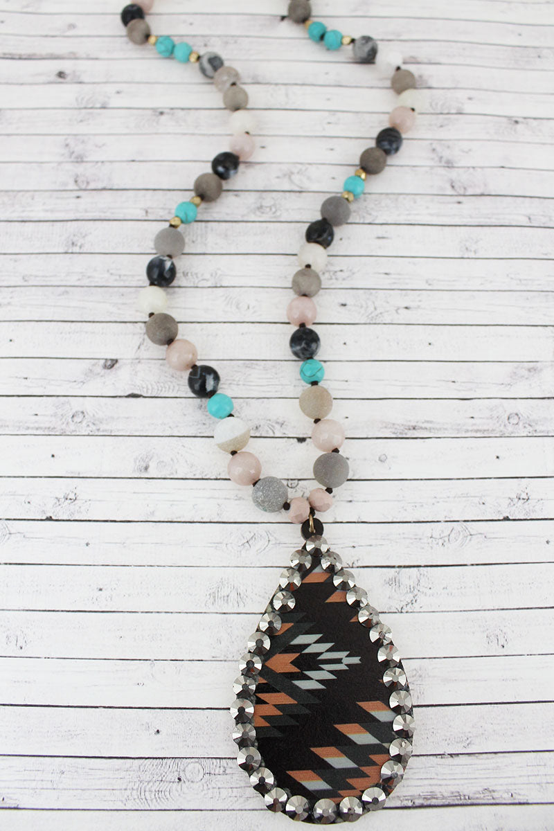 Crystal Trimmed Black Southwestern Wood Teardrop Beaded Necklace