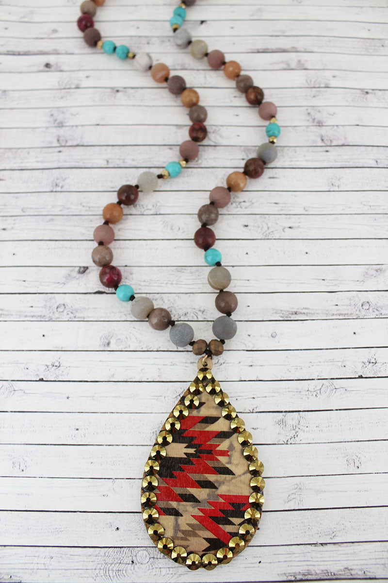 Crystal Trimmed Natural Southwestern Wood Teardrop Beaded Necklace