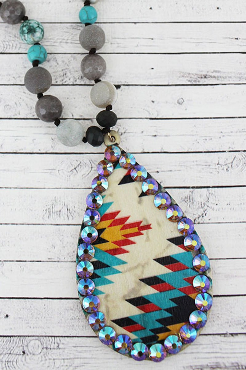 Crystal Trimmed Ivory Southwestern Wood Teardrop Beaded Necklace
