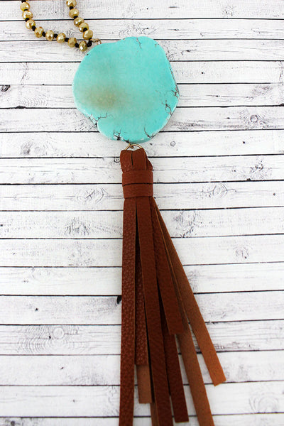 Turquoise Stone Slice and Tassel Pendant Beaded Necklace