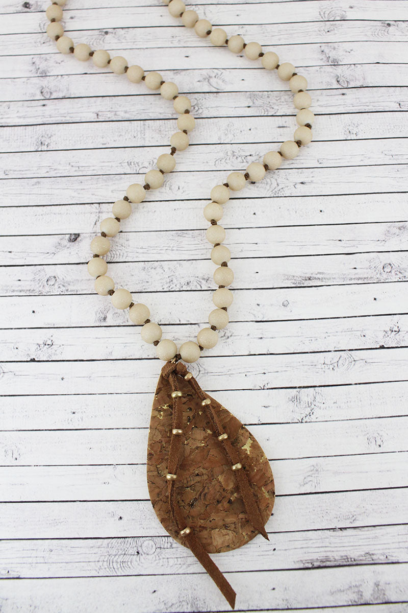 Brown Cork Teardrop & Tassel Pendant Beaded Necklace