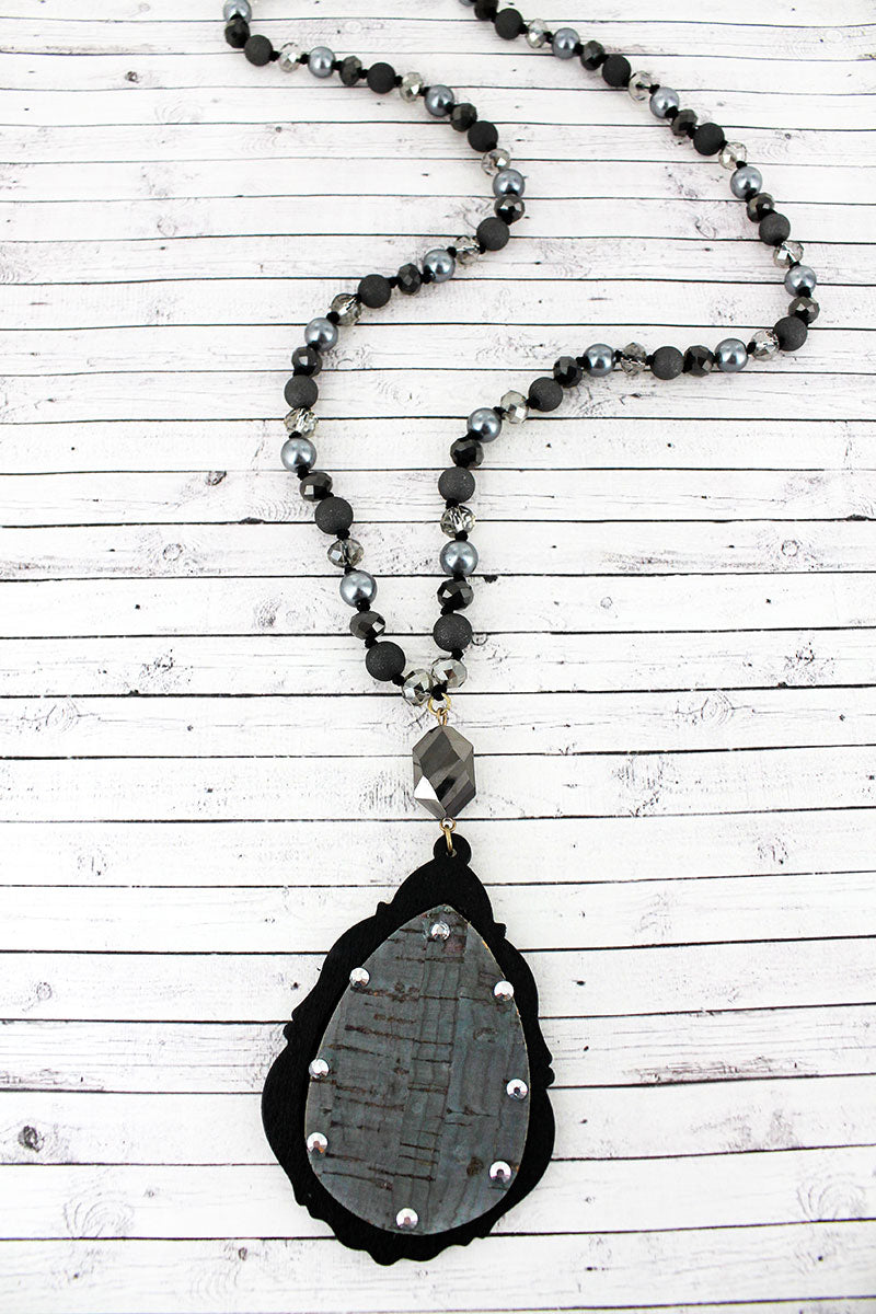 Crystal Accented Black Cork and Wood Arabian Teardrop Beaded Necklace