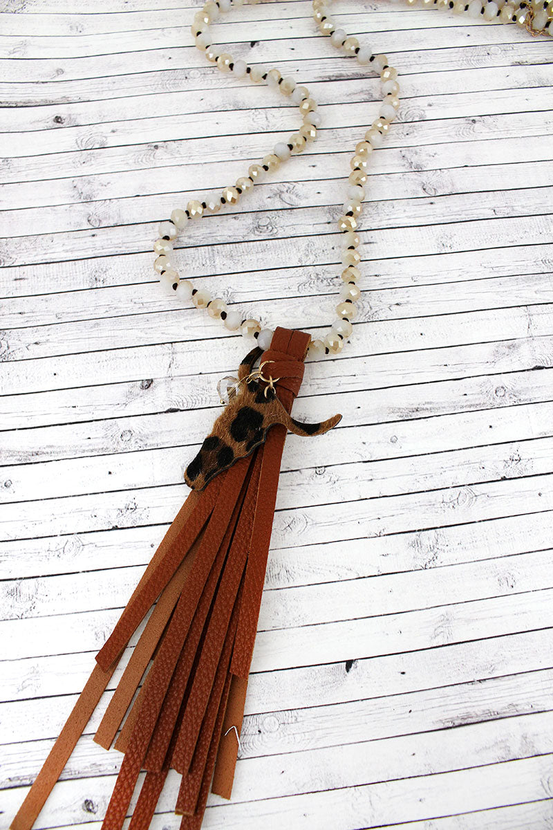 Brown Tassel with Leopard Steer Head Beaded Necklace