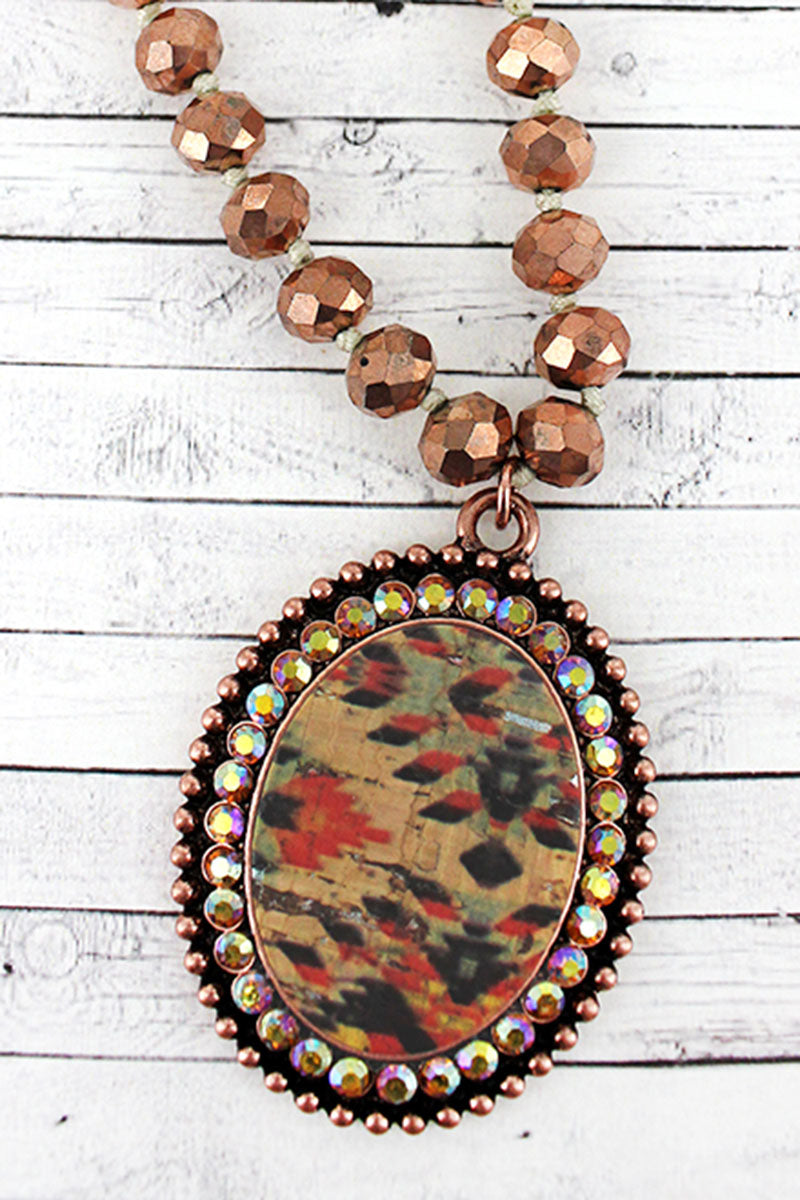Coppertone and Crystal Trimmed Southwestern Cork Oval Beaded Necklace