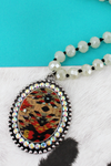 Silvertone and Crystal Trimmed Southwestern Cork Oval Beaded Necklace
