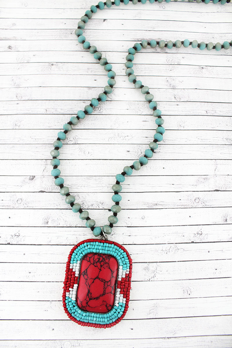 Tri-Color Seed Bead Trimmed Red Stone Rectangle Pendant Beaded Necklace