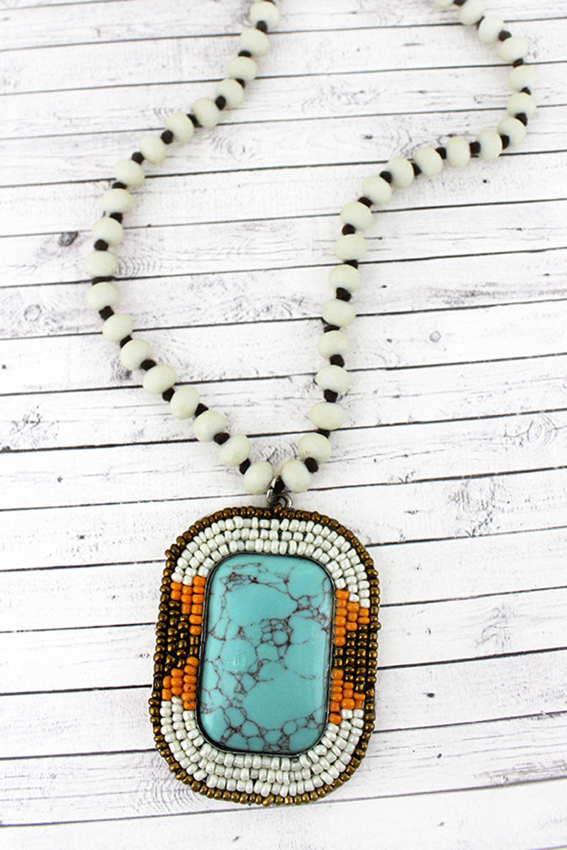 Tri-Color Seed Bead Trimmed Turquoise Stone Rectangle Pendant Beaded Necklace