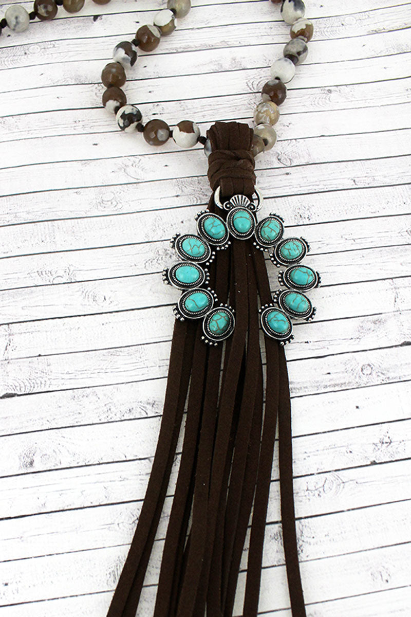 Turquoise Beaded Naja and Dark Brown Tassel Pendant Beaded Necklace