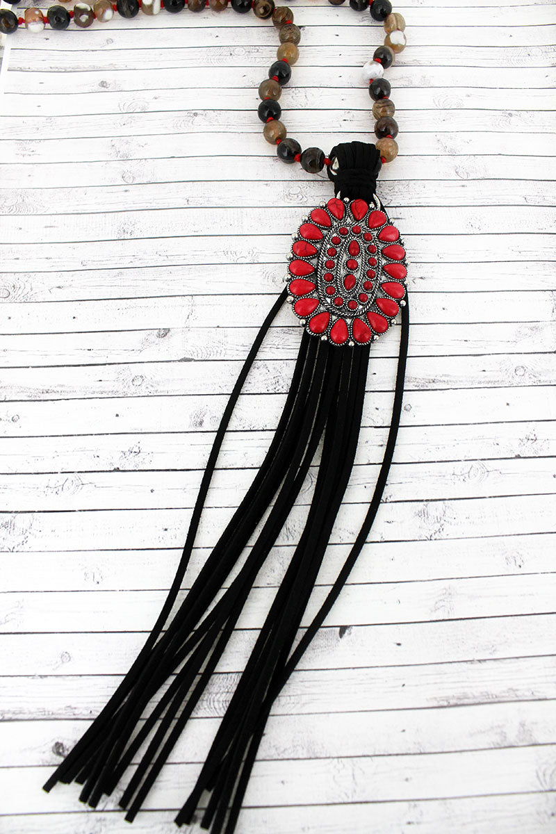 Red Beaded Oval and Black Tassel Pendant Beaded Necklace