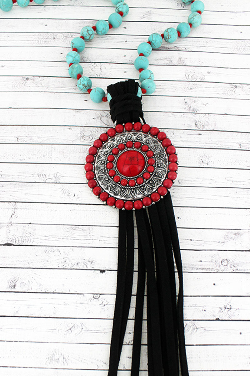 Red Beaded Disk and Black Tassel Pendant Beaded Necklace