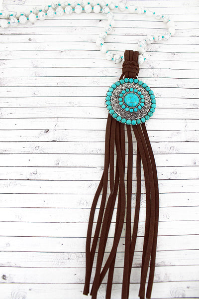 Turquoise Beaded Disk and Dark Brown Tassel Pendant Beaded Necklace