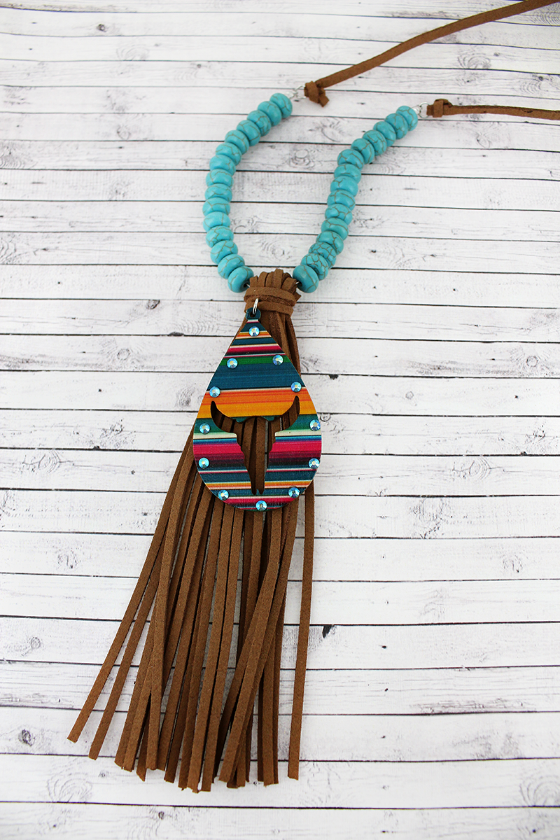 Crystal Serape Cut-Out Steer Tassel Pendant Turquoise Beaded Cord Necklace