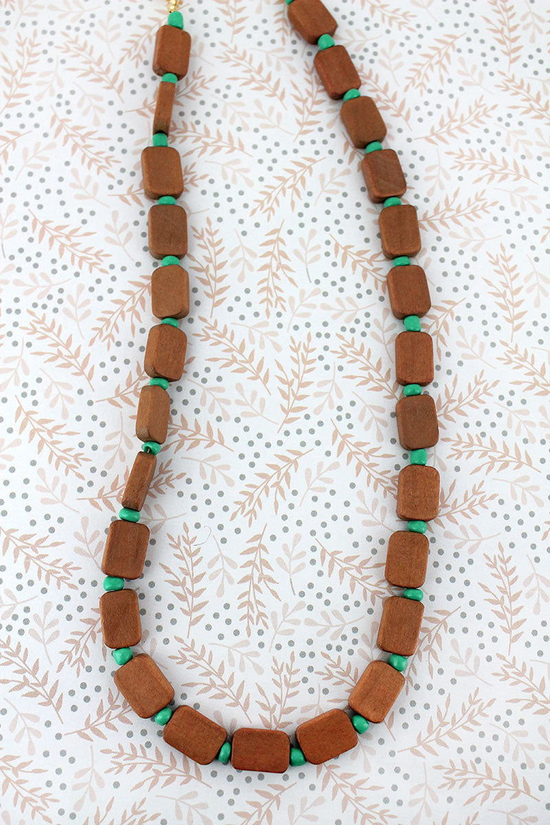 Mint and Brown Wood Flat Bead Necklace