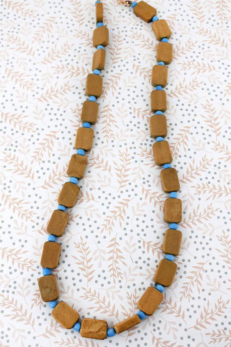 Blue and Light Brown Wood Flat Bead Necklace