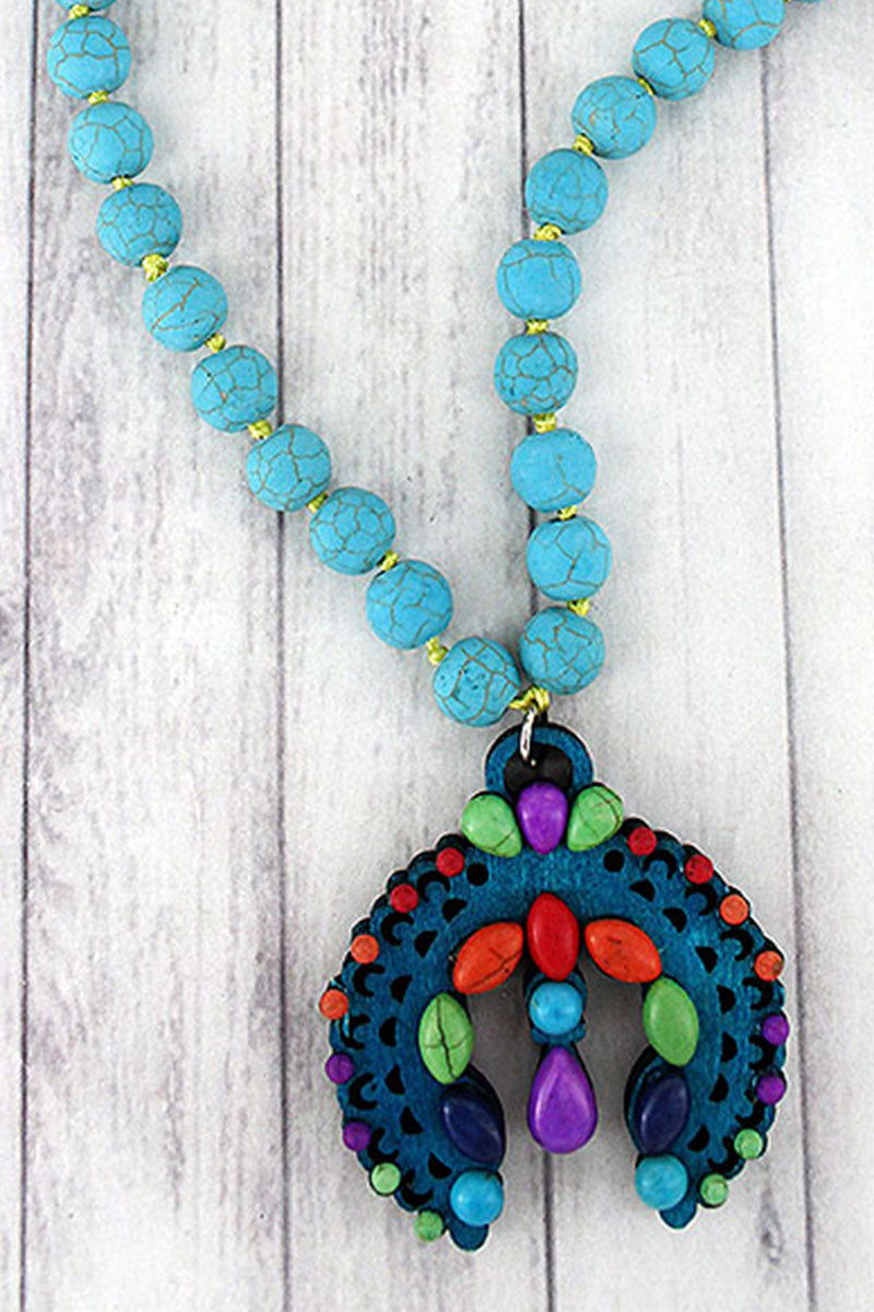 Multi-Color Beaded Wood Naja Turquoise Stone Necklace