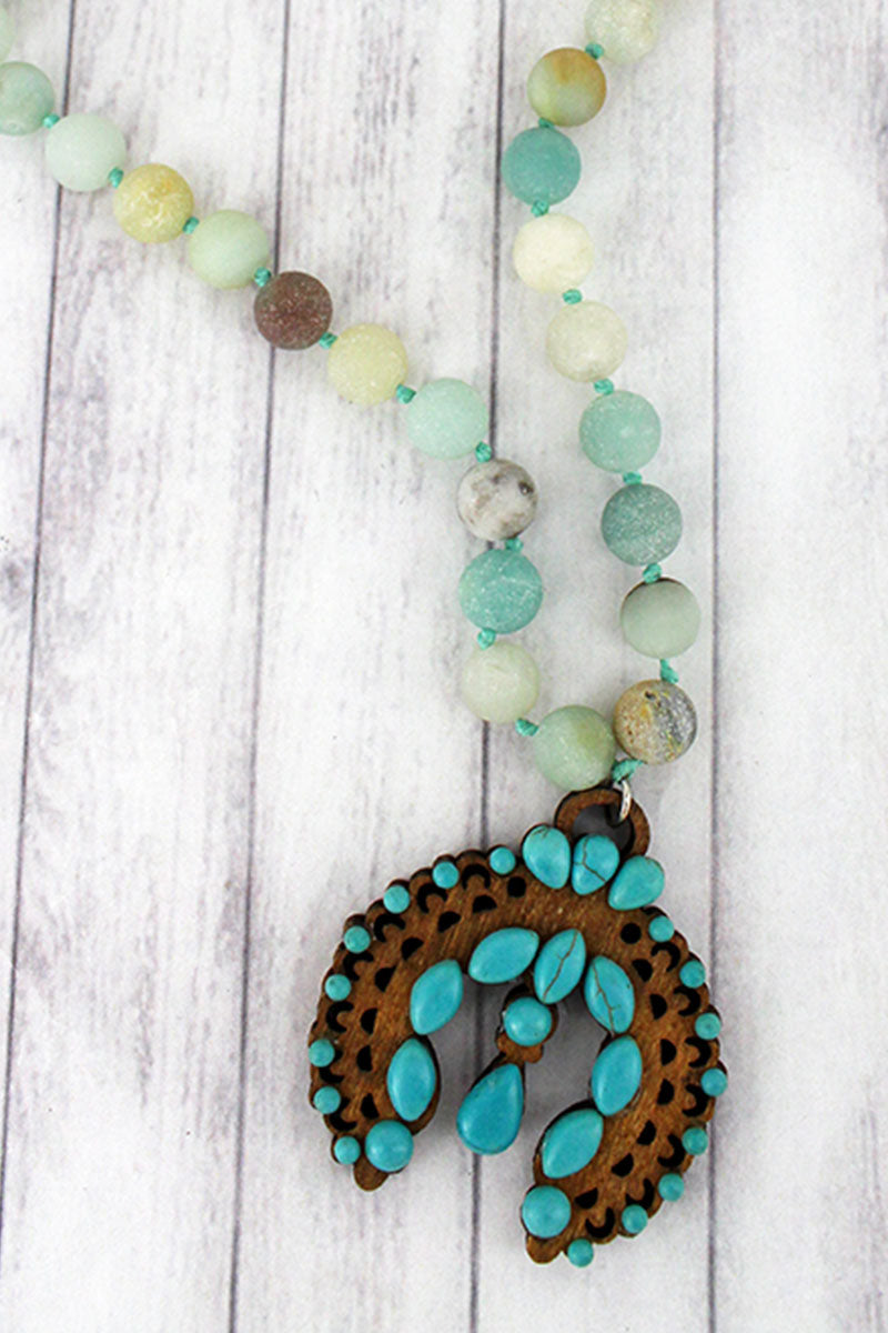 Turquoise Beaded Wood Naja Amazonite Stone Necklace
