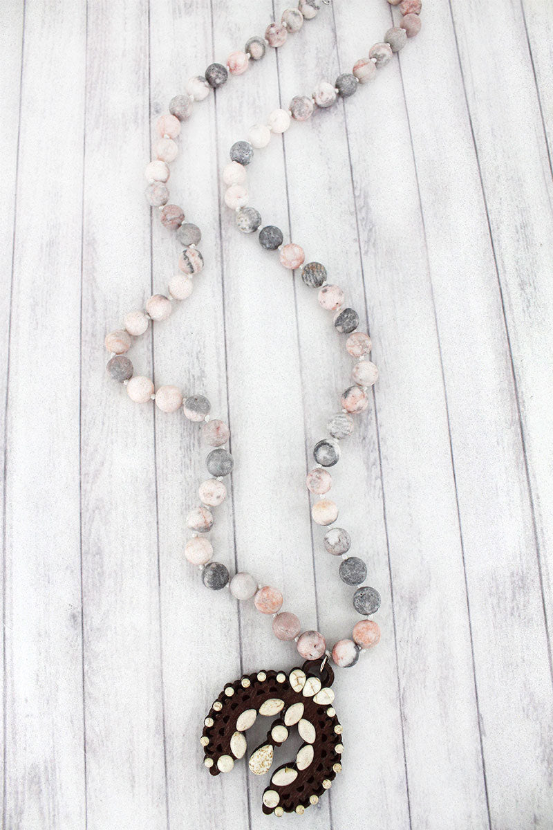 White Beaded Wood Naja Rhodonite Stone Necklace