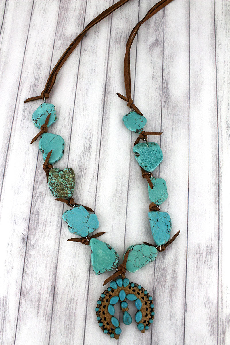 Turquoise Beaded Wood Naja Chunky Stone Necklace