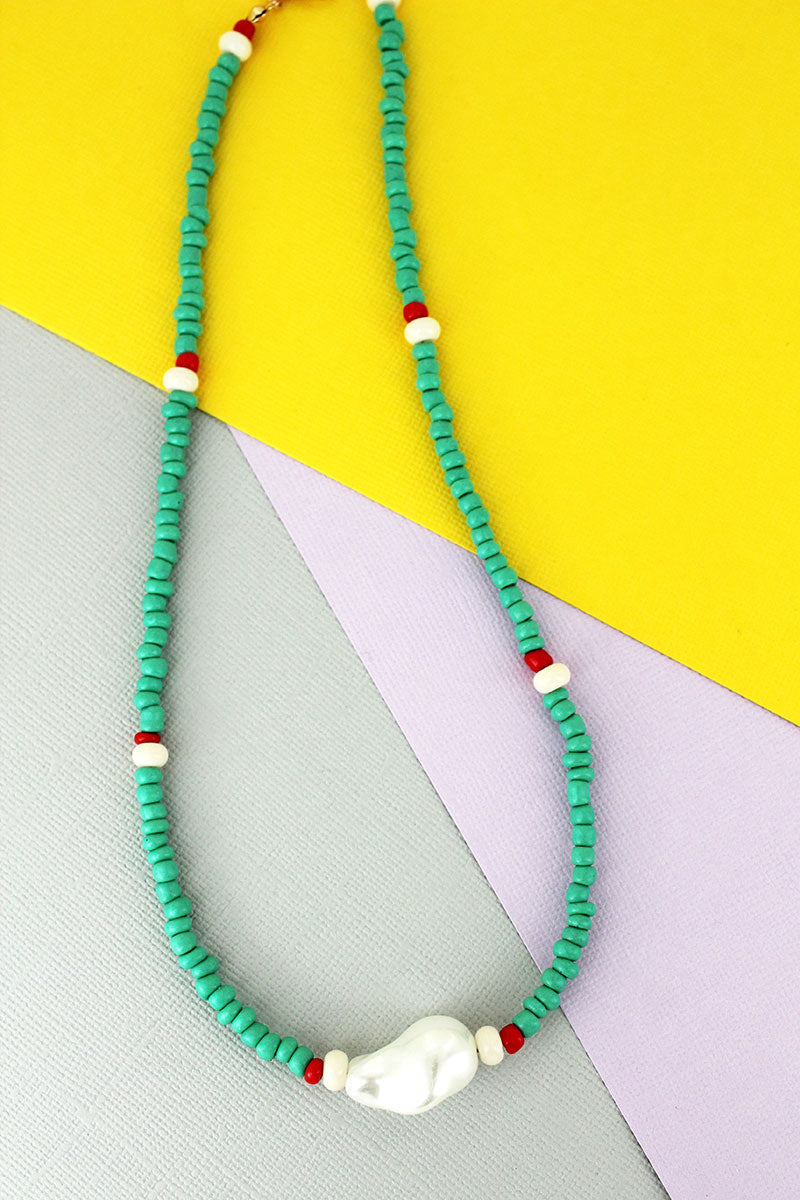 Single Pearl Mint Seed Bead Necklace